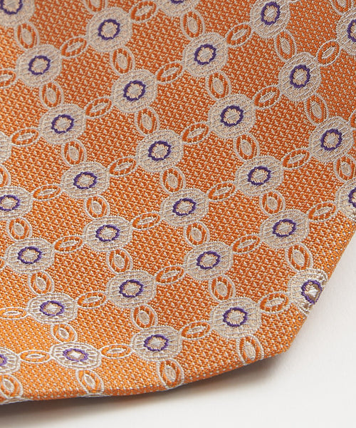 NEAT PATTERN JACQUARD NECKTIE / ORANGE