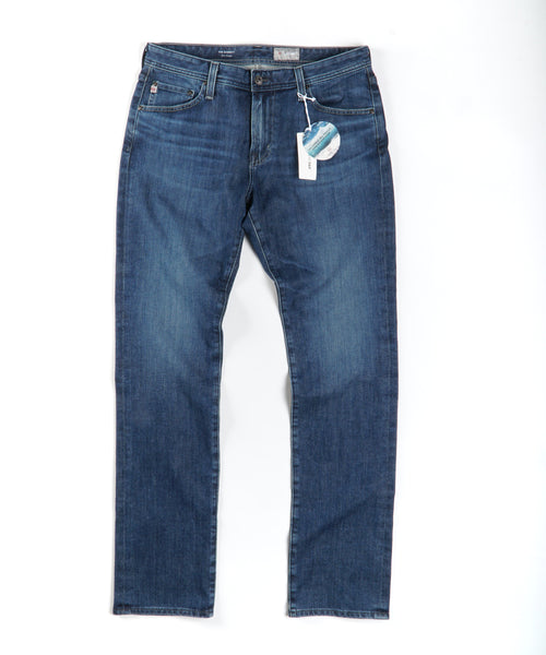 EVERETT SLIM STRAIGHT WASHED JEANS / BLUE