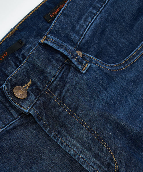 PIPE' FIT DYNAMIC SUPERFIT WASHED DENIM / BLUE