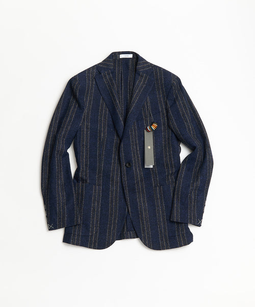 BOGLIOLI Navy Lambswool Stripe K Jacket