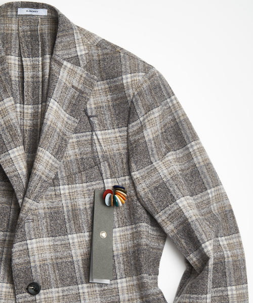 BOGLIOLI Grey Lambswool Tartan Plaid Sport Jacket