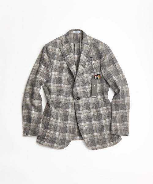 BOGLIOLI Grey Pale Lambswool Tartan Plaid Sport Jacket