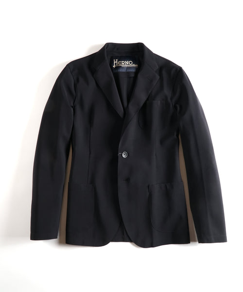 'PEF FIRST ACT' SCUBA UNLINED BLAZER / BLACK