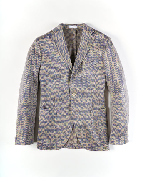 KNIT CHEVRON LINEN SPORT JACKET / TAN