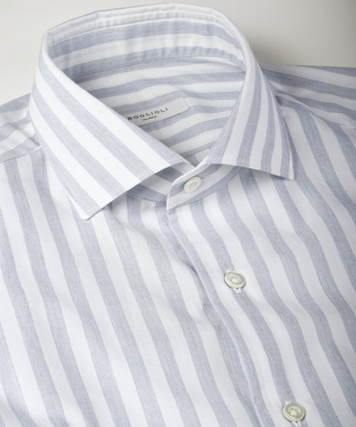 STRIPED COTTON POPLIN SHIRT / BLUE