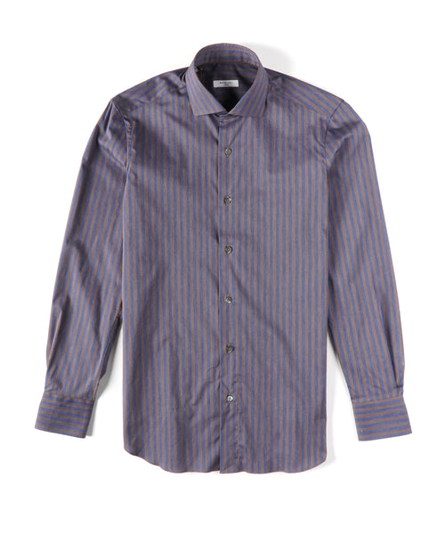 STRIPED COTTON POPLIN SHIRT / BROWN