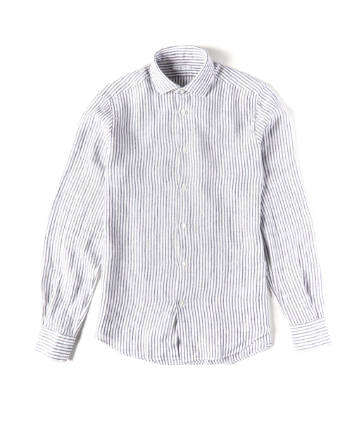 REGIMENTAL STRIPE CASUAL LINEN SHIRT / NAVY