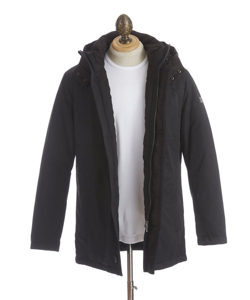 Bugatti Black Down Filled Cotton-Nylon Winter Jacket - Outerwear - Bugatti - LALONDE's