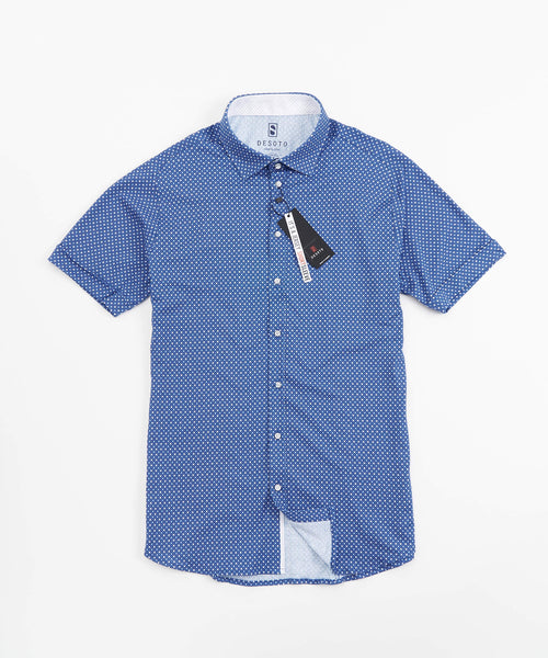 SHORT SLEEVE DOT PRINT STRETCH SHIRT / BLUE