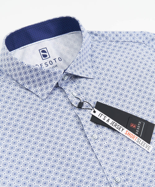SHORT SLEEVE GEOMETRIC PRINT STRETCH SHIRT / BLUE