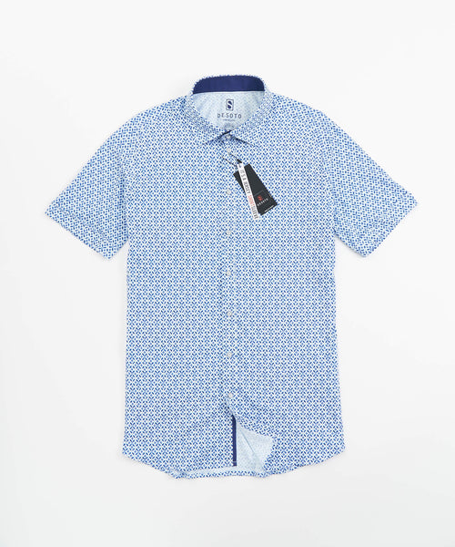 SHORT SLEEVE ABSTRACT PRINT STRETCH SHIRT / BLUE