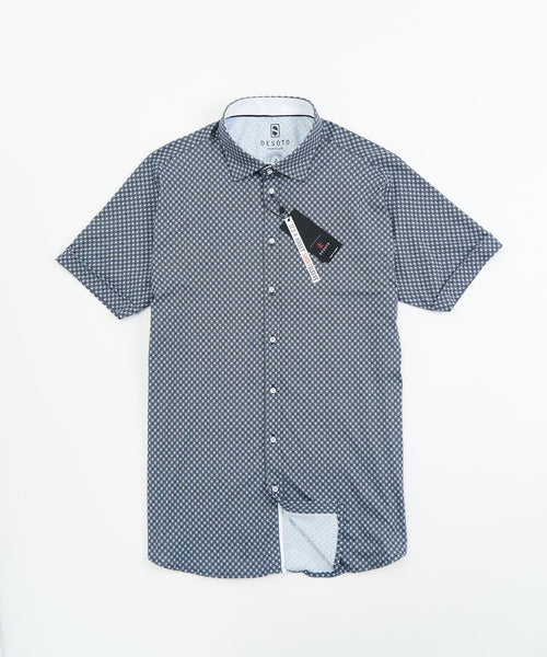 SHORT SLEEVE CIRCLE PRINT STRETCH SHIRT / BLACK