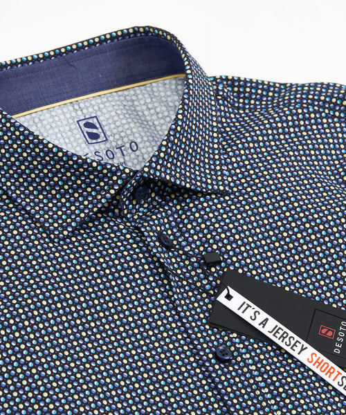SHORT SLEEVE DOT PRINT STRETCH SHIRT / MULTI