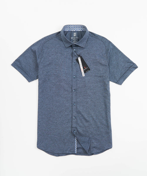 SHORT SLEEVE PIQUE STRETCH SHIRT / GUNMETAL