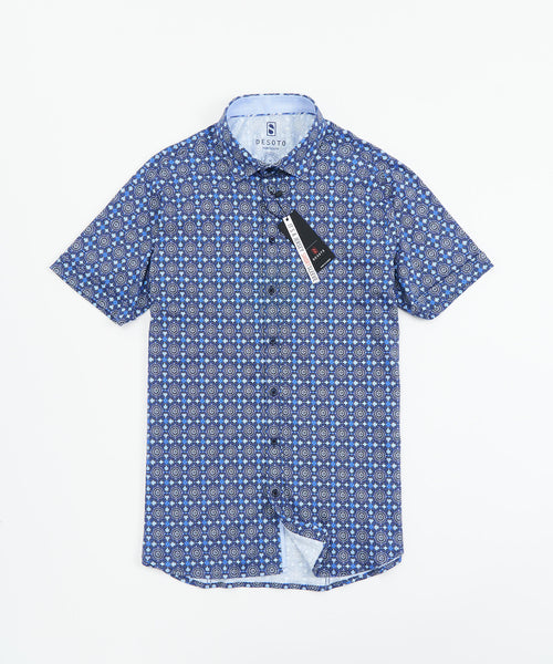 SHORT SLEEVE MEDALLION STRETCH SHIRT / BLUE