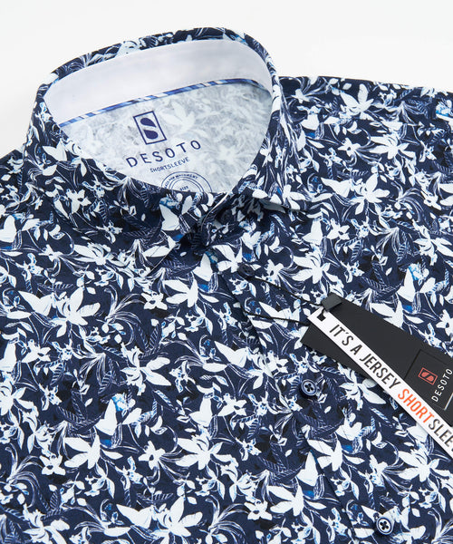 SHORT SLEEVE FLORAL STRETCH SHIRT / NAVY