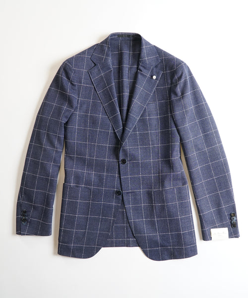 CERRUTI SHARP WINDOWPANE JACKET / NAVY
