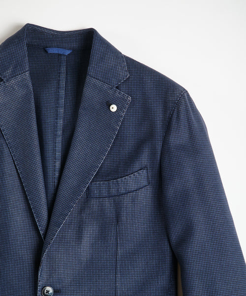 MICRO CHECK WOOL BLAZER / BLUE