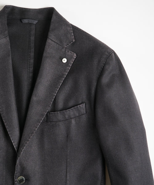 MICRO CHECK WOOL BLAZER / CHARCOAL