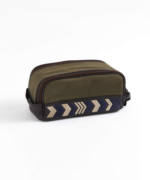 DUO ZIP CANVAS GROOMING WASH BAG / KHAKI