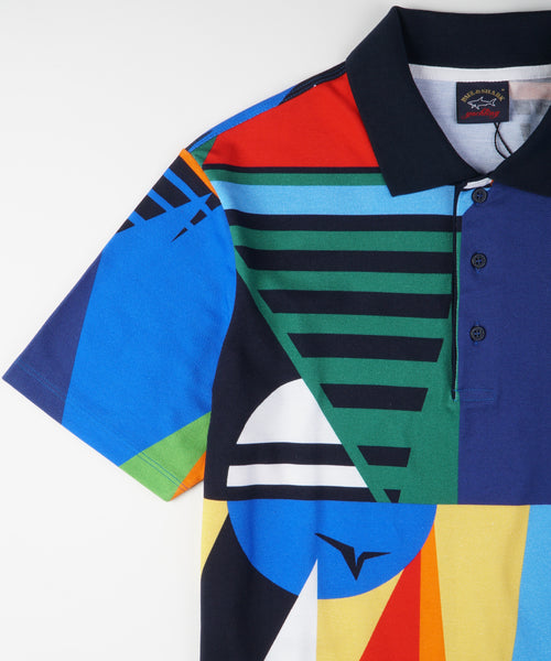 PATCHWORK FLAG PRINT POLO / MULTI