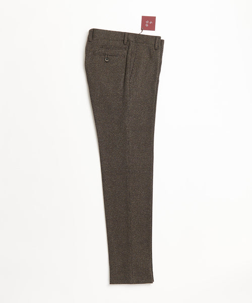 Echizenya Brown Wool Puppytooth Stretch Pants