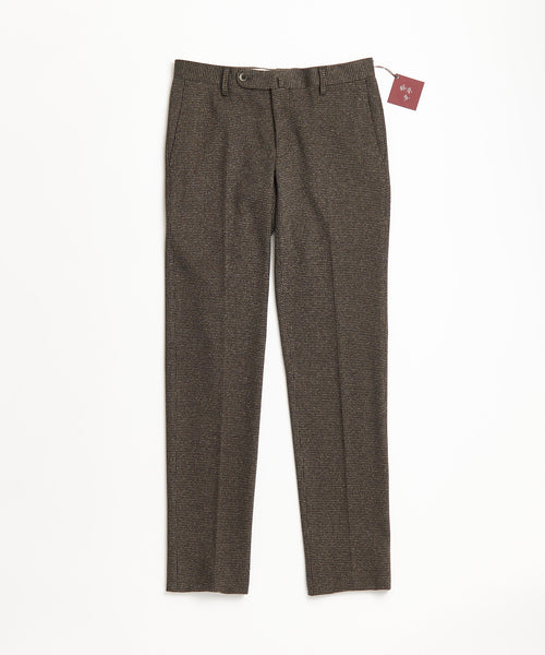 Echizenya Brown Wool Knit Puppytooth Stretch Pants