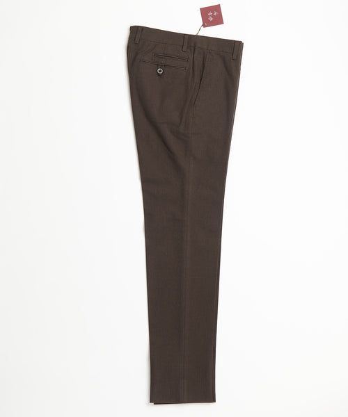 Echizenya Chocolate Cotton Herringbone Trousers