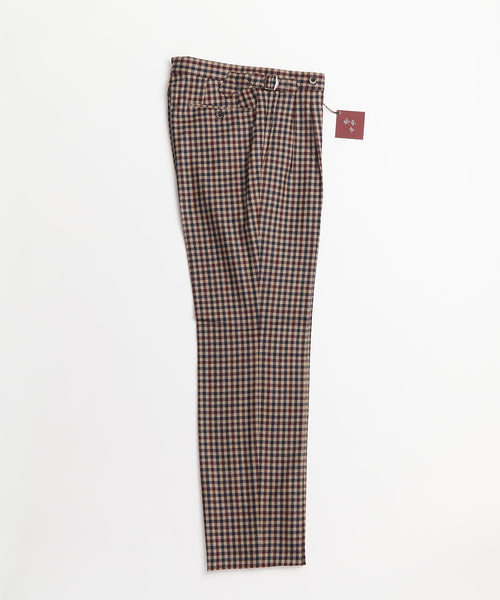 Echizenya Burgundy Gingham Wool Double Pleat Side Tab Dress Pants