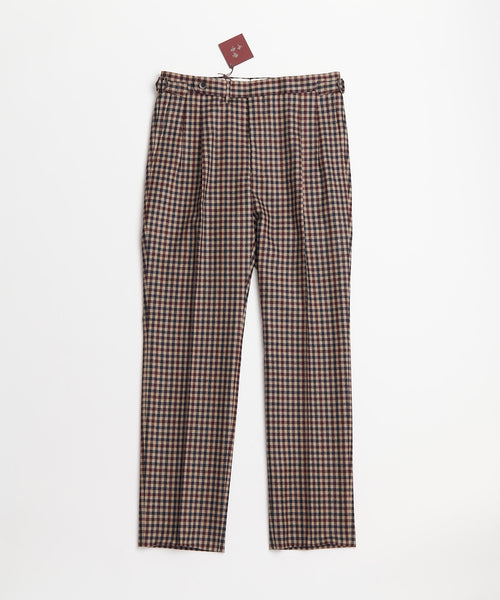 Echizenya Gingham Wool Double Pleat Side Tab Dress Pants