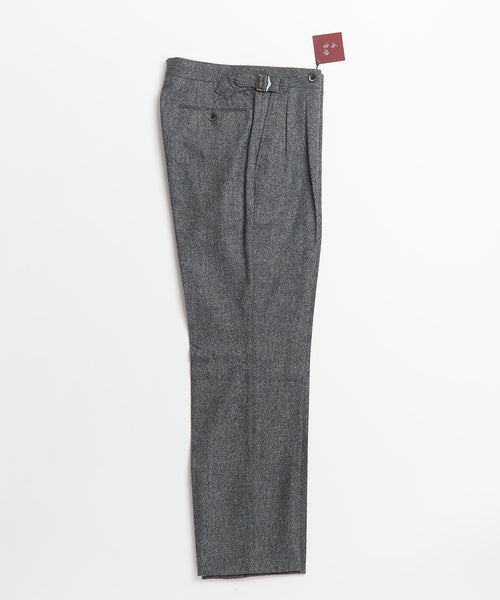 Echizenya Grey Wool Double Pleat Japanese Pants