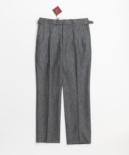 Echizenya Grey Wool Double Pleat Japanese Trousers