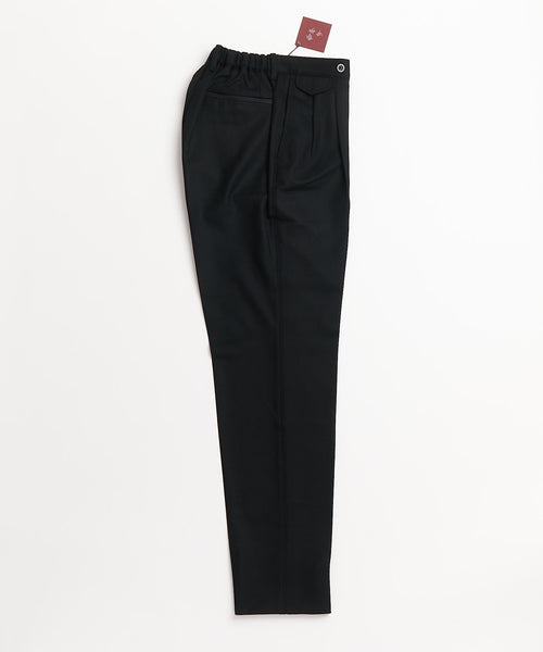 Echizenya Black Flannel Double Pleat Pants