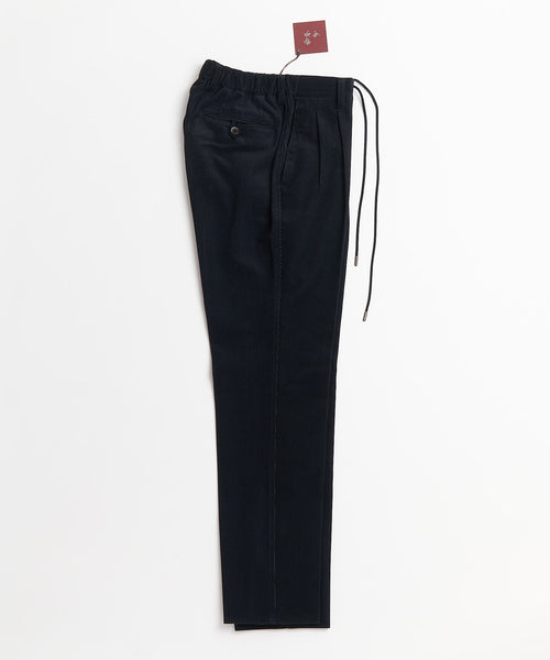 Echizenya Tech Corduroy Drawstring Travel Double Pleat Trousers