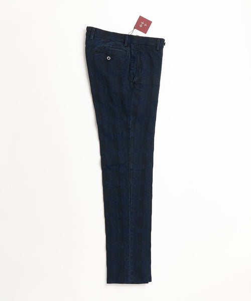 Echizenya Washed Denim Jacquard Shadow Check Trousers