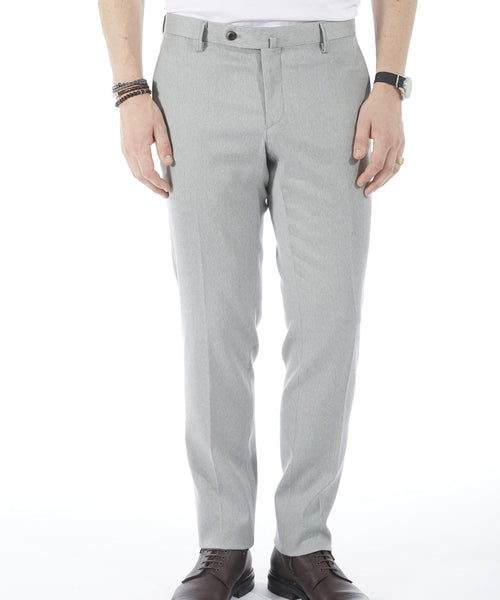 WOOL & COTTON KNIT TROUSERS / GREY