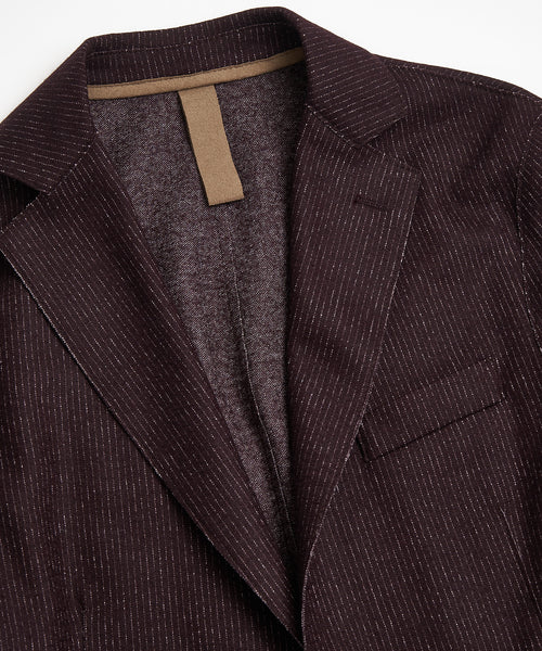 BROKEN PINSTRIPE LASER CUT SPORT COAT / BURGUNDY