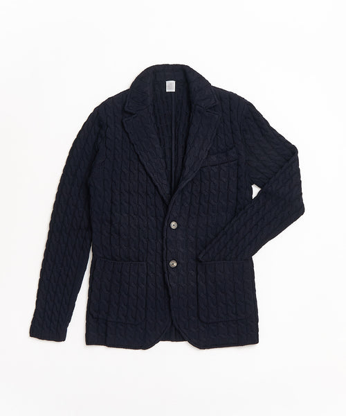 CABLE KNIT SWACKET / NAVY