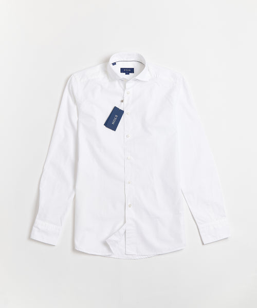 SOFT LUSTRE DOTTED DOBBY SLIM SHIRT / WHITE