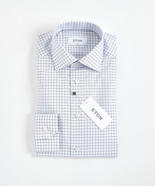 CHECK PRINT TWILL CONTEMPORARY SHIRT / BLUE