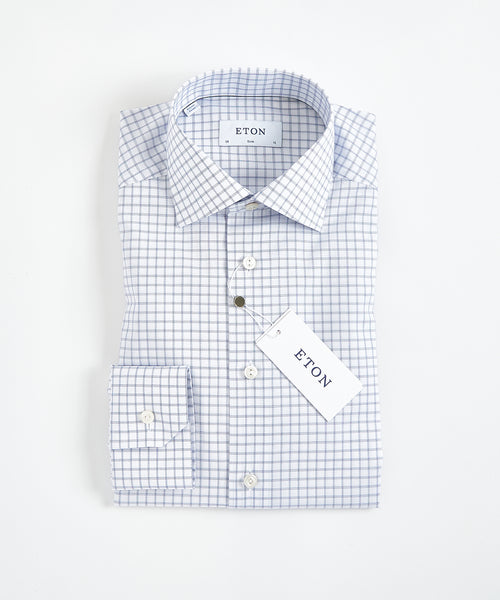 FINE TWILL CHECK SLIM SHIRT / BLUE