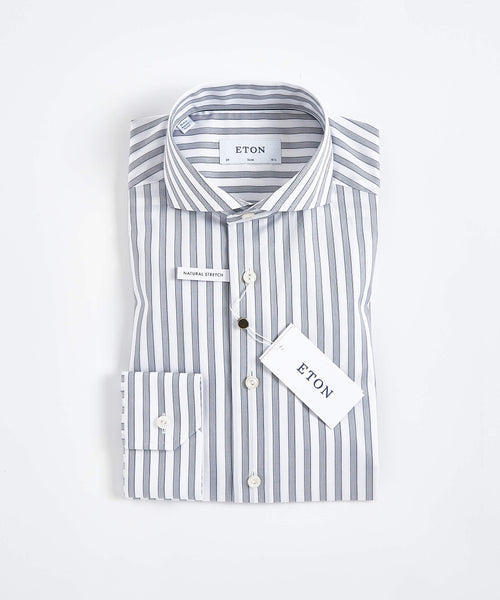 BOLD STRIPES STRETCH SLIM SHIRT / GREY