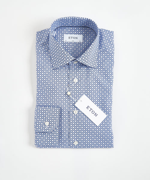 BLOCK PRINTED POPLIN SLIM SHIRT / BLUE