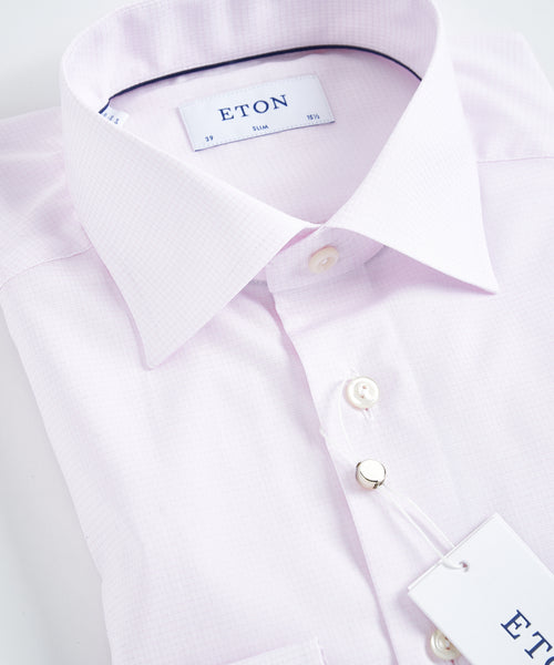 TONAL CHECK SLIM SHIRT / PINK