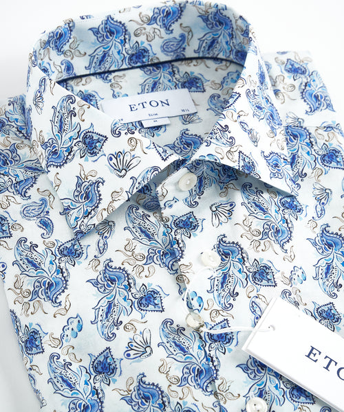WATERCOLOUR PAISLEY SLIM SHIRT / BLUE