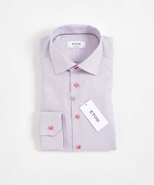WOVEN CHECKS CONTEMPORARY SHIRT / PINK
