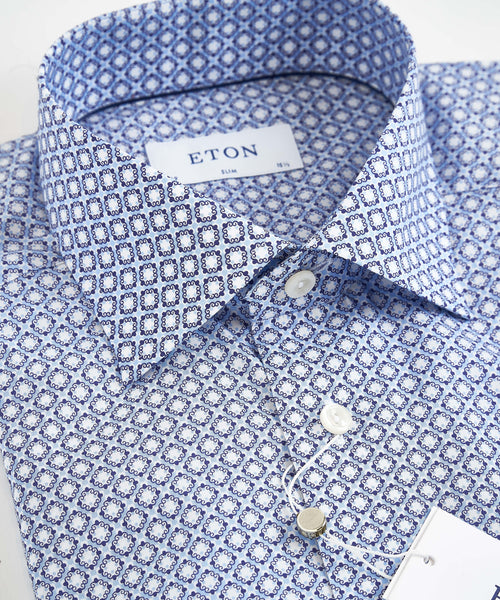 BLOCK PRINTED POPLIN CONTEMPORARY SHIRT / BLUE