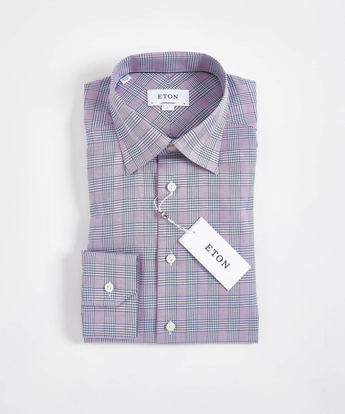 GLENCHECK CONTEMPORARY FIT SHIRT / MAUVE