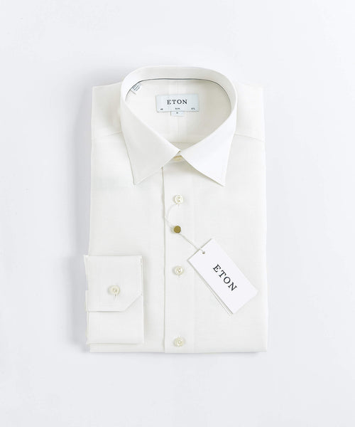 HIDDEN BUTTON DOWN COTTON/LINEN CONTEMPORARY FIT SHIRT / WHITE