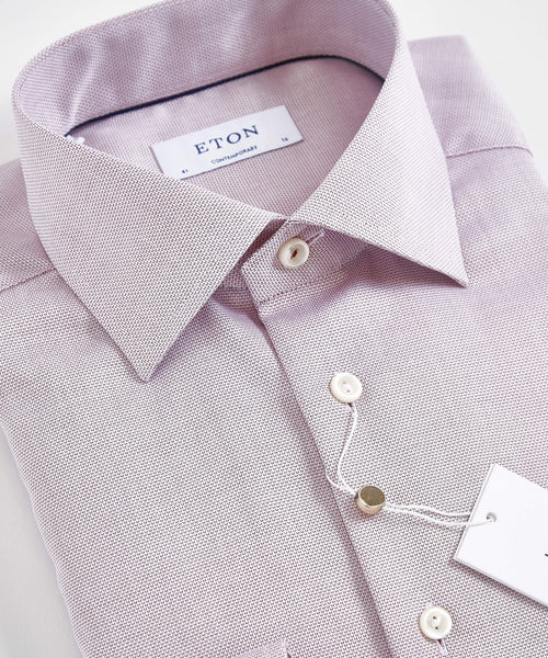 DIAMOND WEAVE CONTEMPORARY FIT SHIRT / PINK